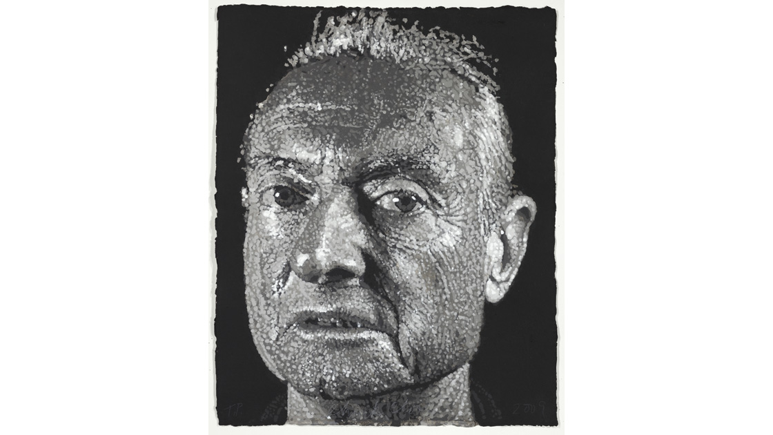 Roy, 2009 – 2010, stencilled pigmented handmade paper, paper/pulp, 90 x 73cm, ed. 30