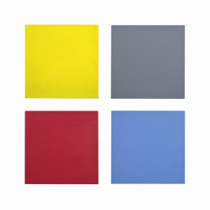 From top left to bottom right: David Serisier, untitled yellow square painting, untitled grey painting, untitled red square painting, untitled blue painting, 2010, all oil on linen, 45.7 cm  x 45.7 cm each