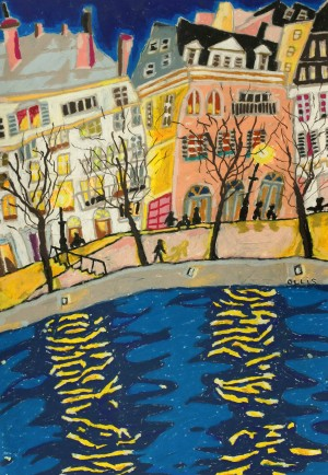The Seine at Dusk oil pastel on paper, 2011, oil and pastel on canvas, 58 x 76cm