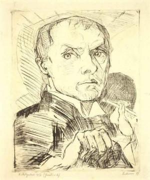 Max Beckmann, Selbstbildnis mit Griffel, 1916, Drypoint, 29.8 x 23.4 cm