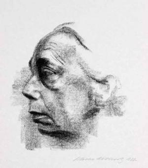 Käthe Kollwitz, Kollwitz Selbstbildnis im profil, 1927, 32 x 29.7 cm
