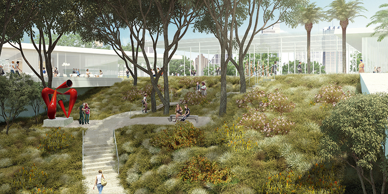 Landscape concept - 24hr pedestrian access through site © Kazuy