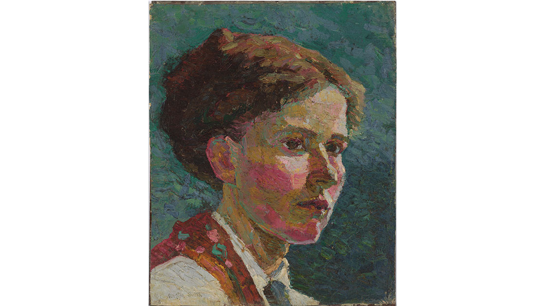 """Grace Cossington Smith, """"Study of a head: self portrait,"""" 1916, oil on canvas on board, 28.6 x 23.4 cm, National Gallery of Australia, Canberra, purchased with funds from the Marie and Vida Breckenridge bequest 2010"""