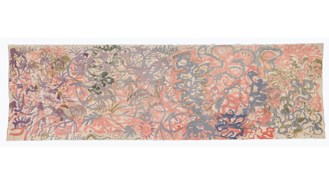 """Emily Kame Kngwarreye, """"For Linda,"""" 1981, textiles, fabric, painted cotton, 86 x 288.5 cm, National Gallery of Australia, Canberra, purchased 1983, © Emily Kame Kngwarreye/Copyright Agency"""
