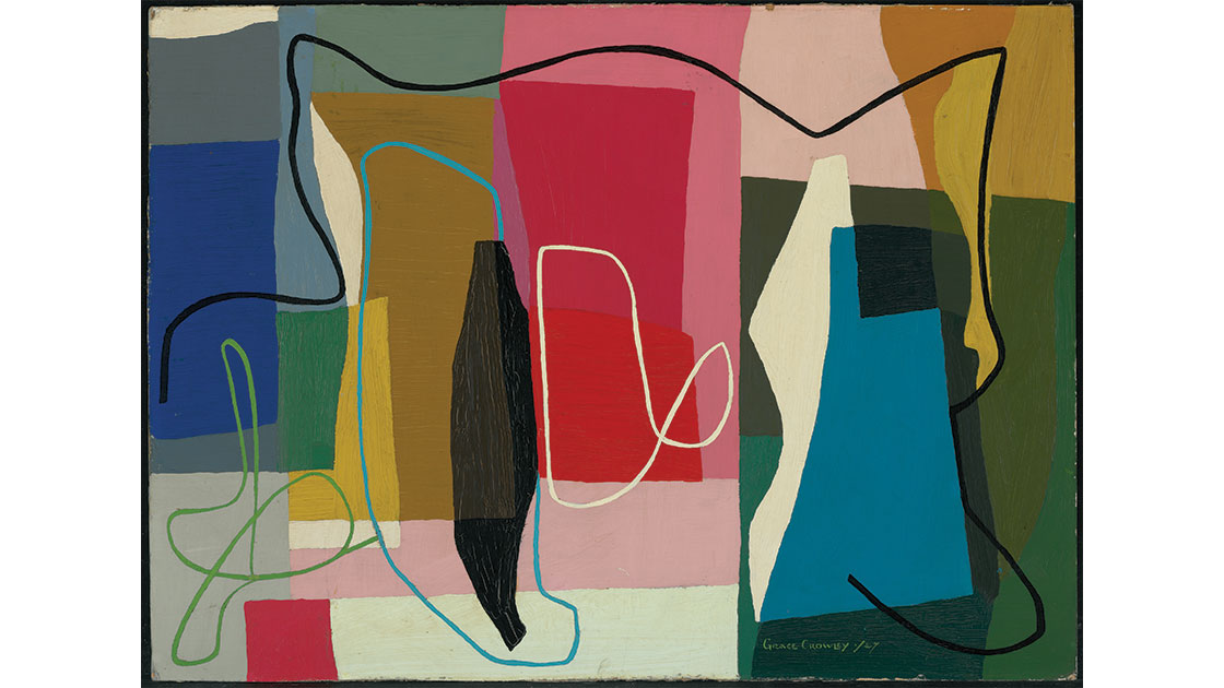 """Grace Crowley, """"Abstract painting,"""" 1974, oil on cardboard, 60.7 x 83.3 cm, National Gallery of Australia, Canberra, purchased 1959"""