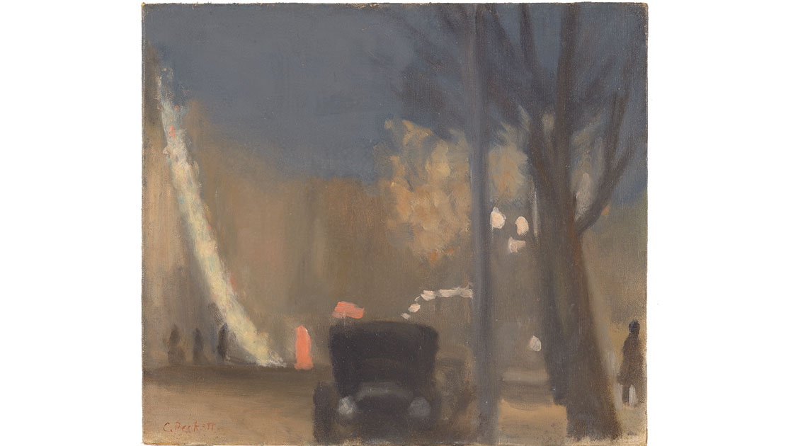"""Clarice Beckett, """"Collins Street, evening,"""" 1931, oil on canvas on cardboard, 35.4 x 40.6 cm, National Gallery of Australia, Canberra, purchased 1971"""