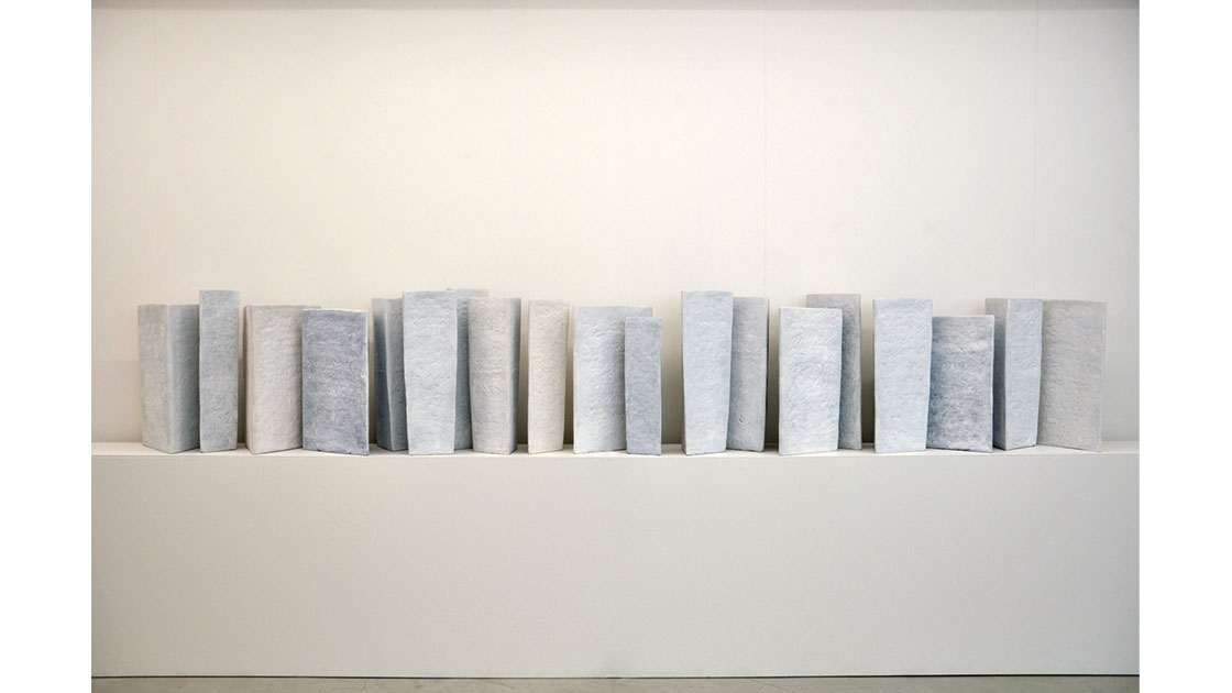 """""""Bindu (white),"""" 1995-2000, clay, 19 pieces, various sizes, courtesy Utopia Art, Sydney"""