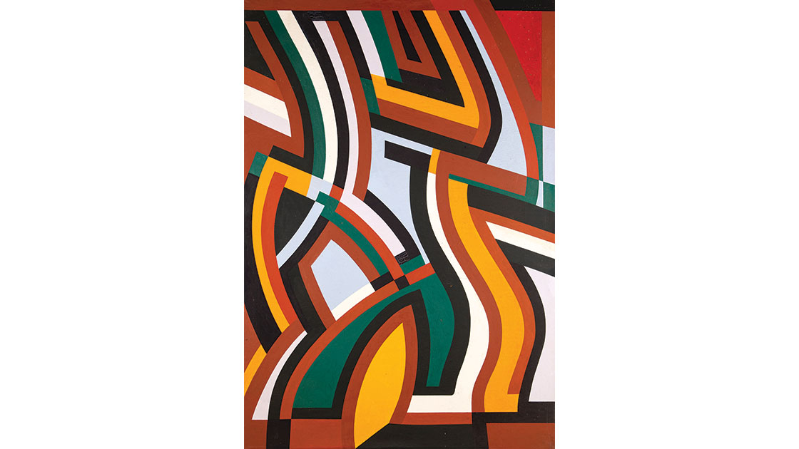 """""""Abstract 1,"""" 1985, oil on canvas, 118 x 172.3 cm, photo Lyle Branson, courtesy the estate of the artist and Lawrence Wilson Art Gallery."""