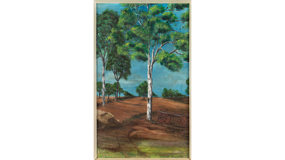"""""""Untitled landscape,""""  c. 1968, oil on board, photo Lyle Branson, courtesy the estate of the artist and Lawrence Wilson Art Gallery."""