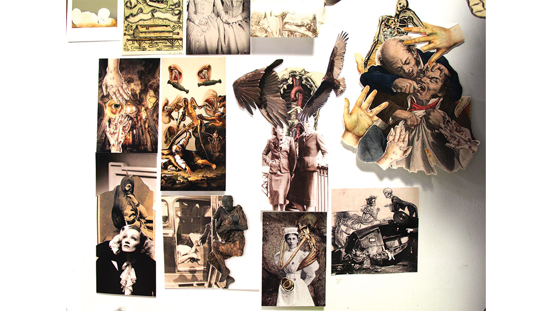 """DArcy Coad, """"Morbid Curiosities,"""" 2020-21,  hand-cut photomontage collages, dimensions vary, courtesy the artist and Edith Cowan University"""